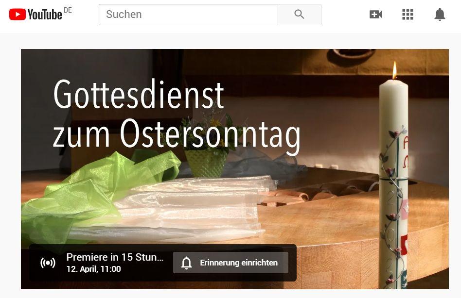 Ostersonntag-Gottesdienst auf Youtube